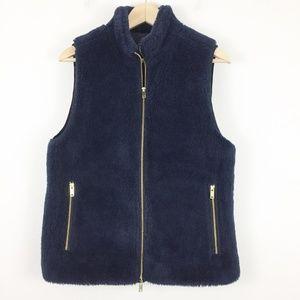 J Crew Navy Blue Plush Fleece Excursion Vest